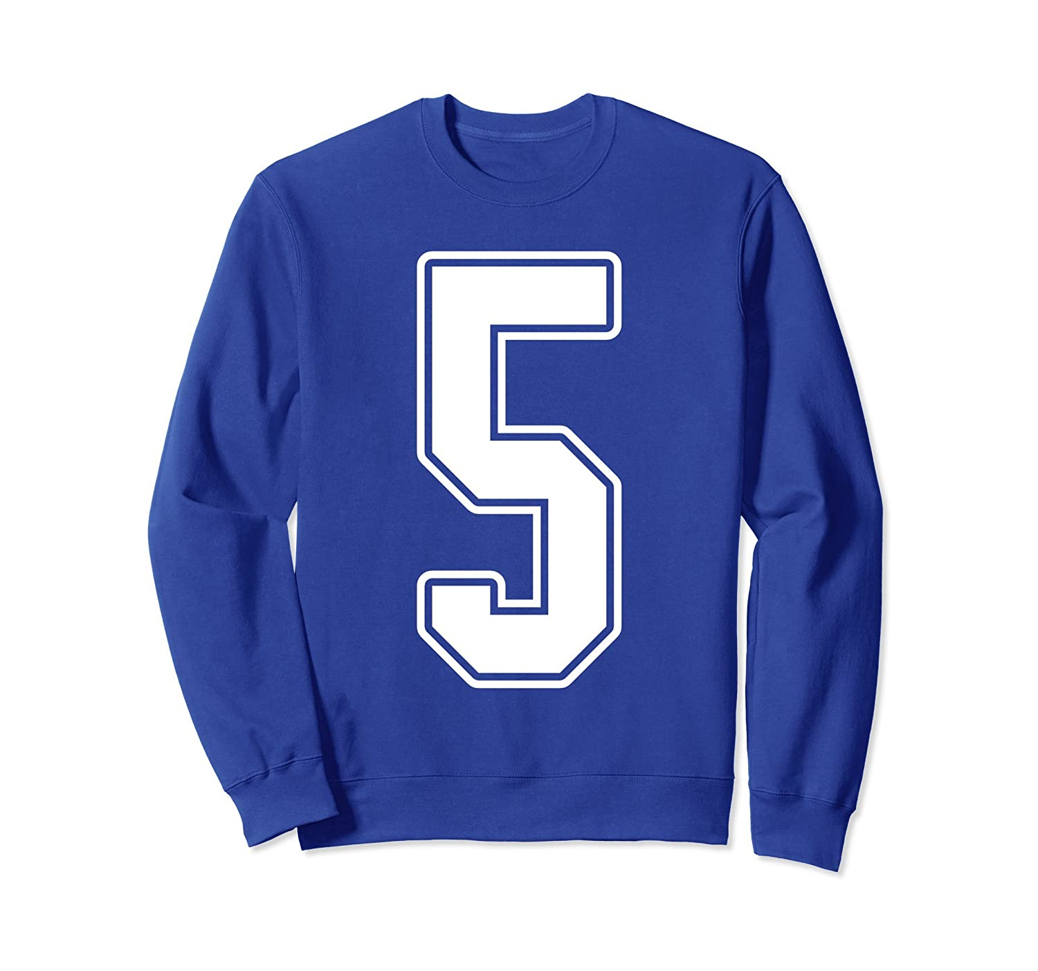 #5 White Outline Number 5 Sports Fan Jersey Sweatshirt-Rose