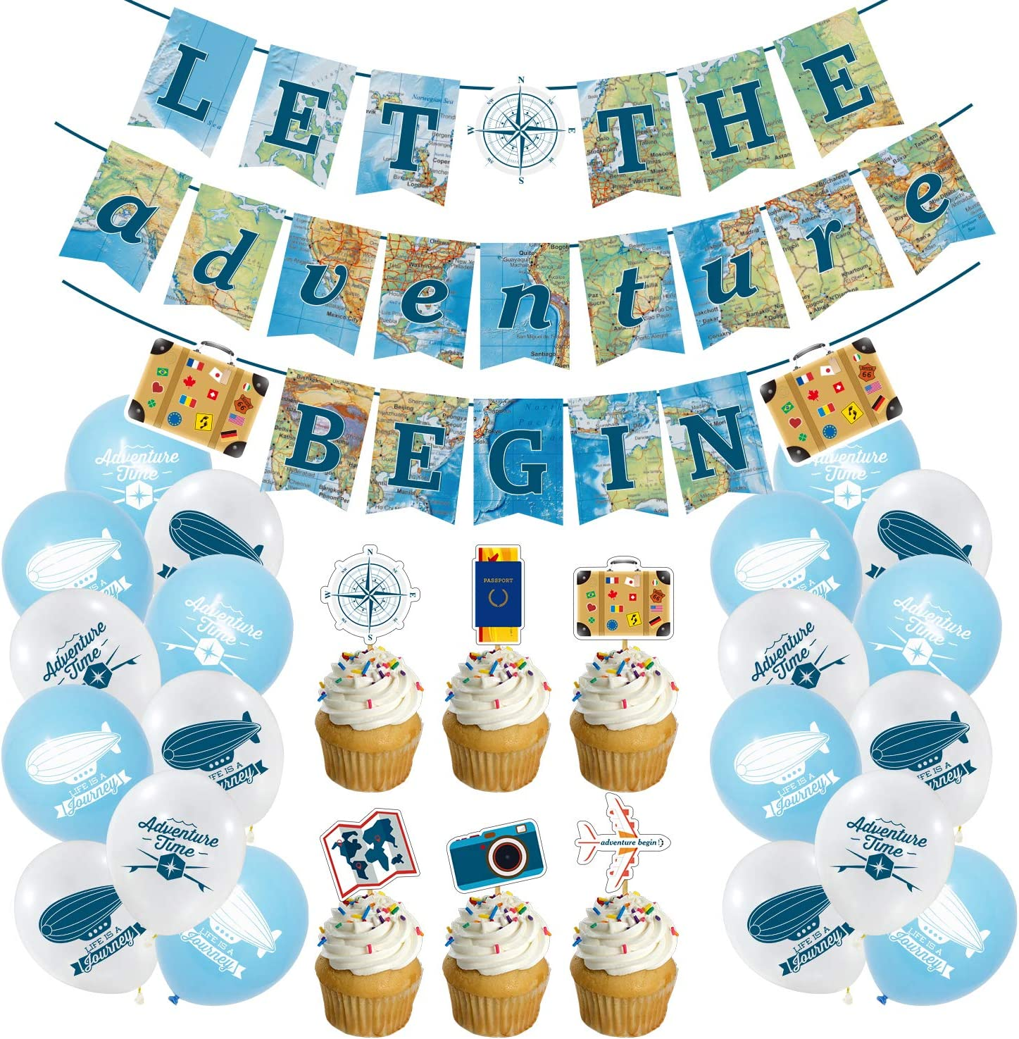 Retirement Party Decorations Travel, Travel Themed Decorations Let the Adventure Begin Party Banner Balloons with Cake Toppers