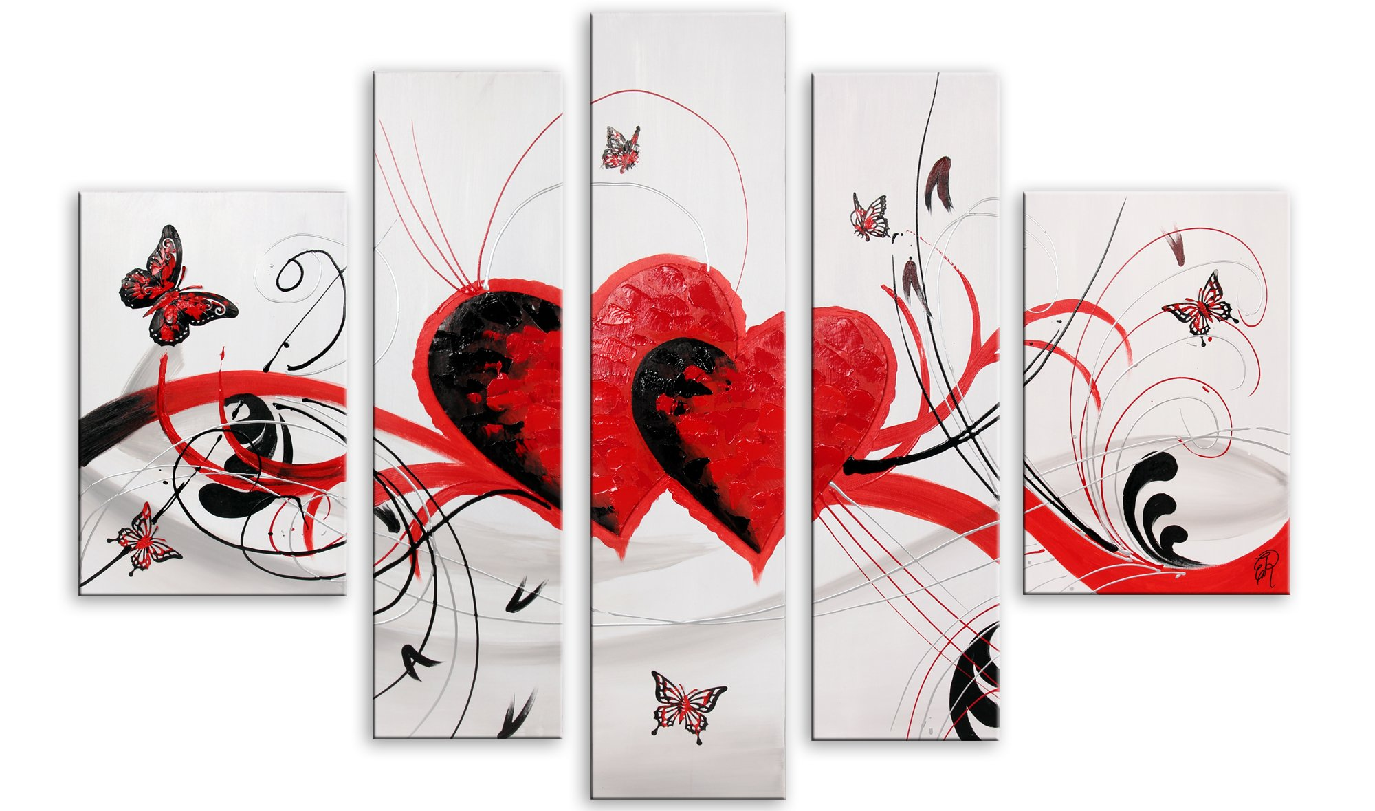 World Art TW60159 Aesthetic Wooden Frame Hearts and Butterflies, 100x155x3 cm, Size: 40 x 62 x 2 Inch