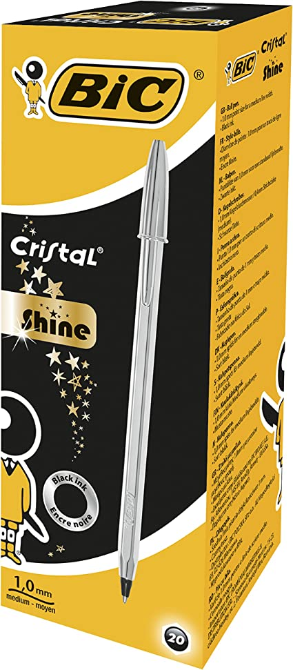 BIC Cristal Shine bolígrafos punta media (1,0 mm), Cuerpo Plateado ...