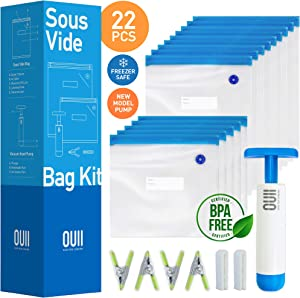 Sous Vide Bags for Joule and Anova | 15 Reusable BPA Free Food Vacuum Sealer Bags with Vacuum Hand Pump! Sous Vide Bag in Various Sizes! More Space Saving | Food Storage Freezer Safe | Fits Any Sous Vide Cooker