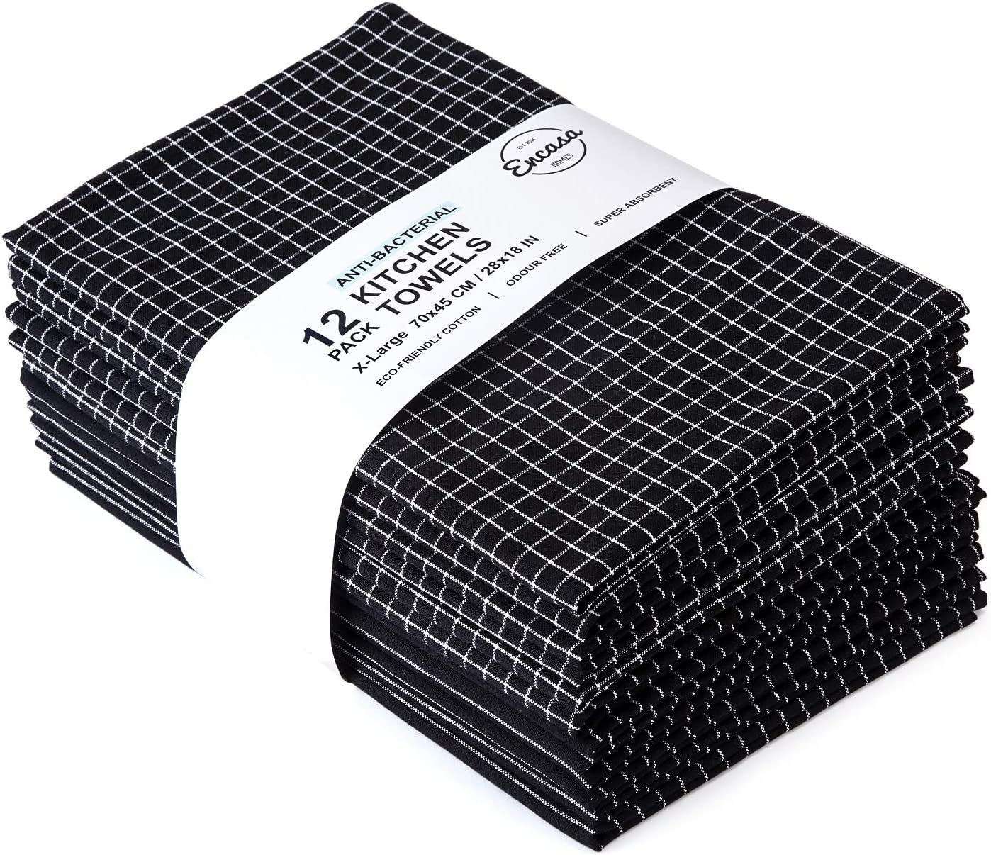 Encasa Homes Kitchen Dish Towels X-Large 18 x 28 inch (12 pc Set), Eco-Friendly Cotton, Highly Absorbent for Cleaning & Quick Drying of Plates & Glasses - Butcher Black