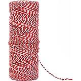 Yolitoコットン紐-2mm厚-2m長さ 細長い手芸DIYタグ、結び、包み、梱包、包装(赤+白)