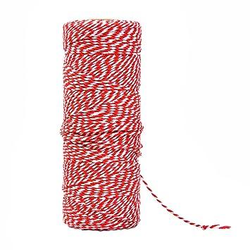 100/% Mosel Schnur Rot Wei/ß Bakers Twine 2 mm stark Geschenkband Baumwollschnur 100 m Bastelschnur Dekokordel