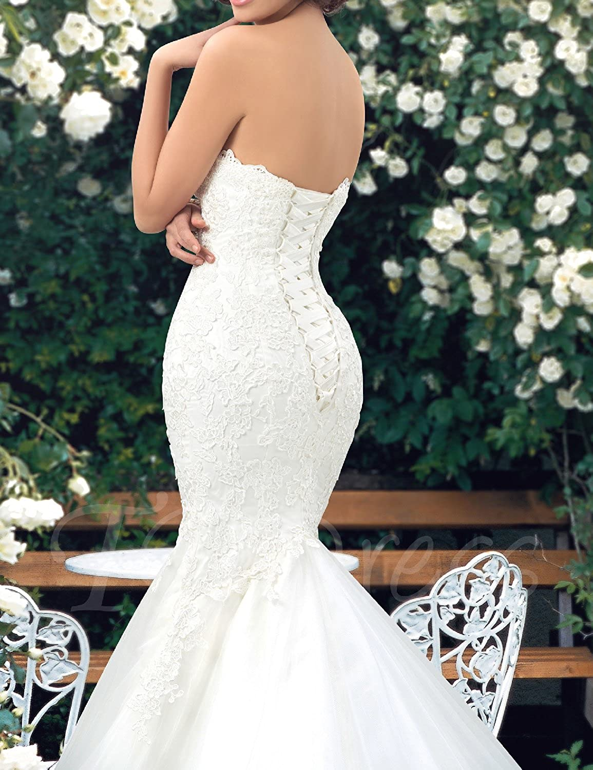 Udresses Womens Sweetheart Mermaid Wedding Dress Lace Bridal Dresses ...