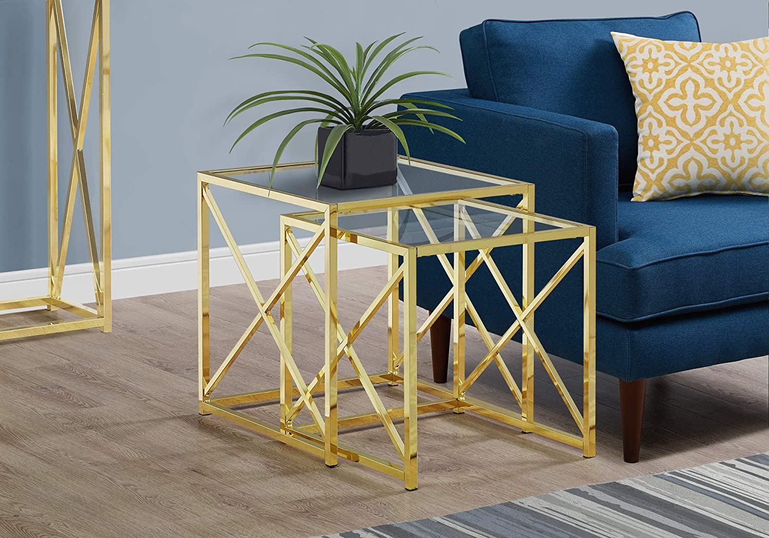 Monarch Specialties I 3445 Nesting Table, Gold