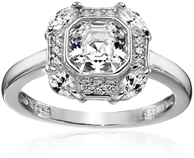 "0a847ff83 Platinum-Plated Sterling Silver Celebrity ""Pippa"" Swarovski  Zirconia Asscher Cut Antique Ring"