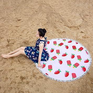 Amazon.com: Prothoe - Toalla de playa redonda de rizo de ...
