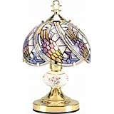 OK Lighting OK-606-4G 14.25-Inch   Touch Lamp with Tiffany Glass Floral Theme, Gold