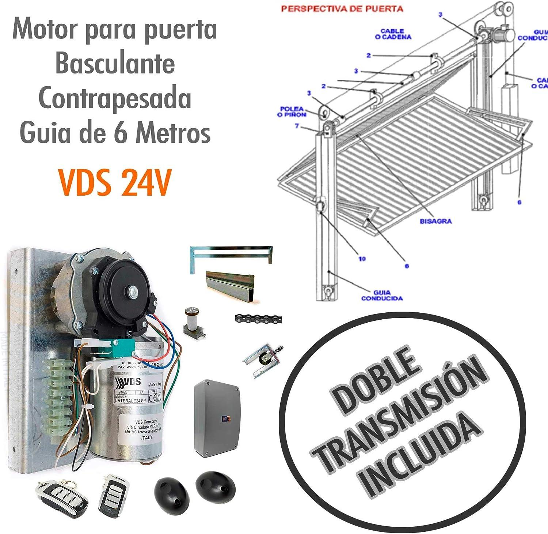 Kit Motor para puerta basculante contrapesada con KIT DE TRANSMISION INCLUIDO - VDS 24v CARRIL DE 6 METROS. Para puertas o portones de 2 hojas. Sistema de elevación por cadena de alto rendimiento.