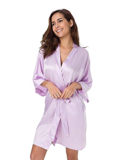 SIORO Mujer satén Vestido Pijama Dama de Honor Vestido Pijama Suaves Ropa Dormir Camisón Lencería Corto