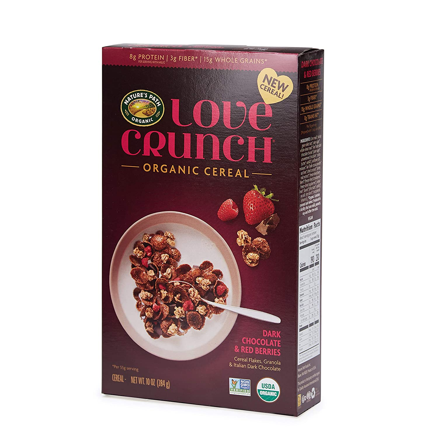 Nature's Path Love Crunch Organic Cereal, Dark Chocolate & Red Berries, 6 Count