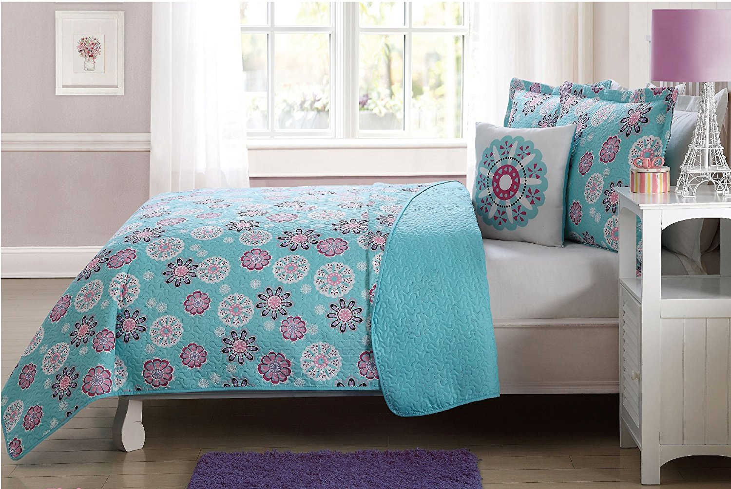 Elegant Home Multicolors Blue Turquoise Pink White Floral Flowers Flakes Design Fun Printed Reversible Cozy Colorful 3 Piece Quilt Bedspread Set with Decorative Pillow for Kids/Girls (Twin Size)