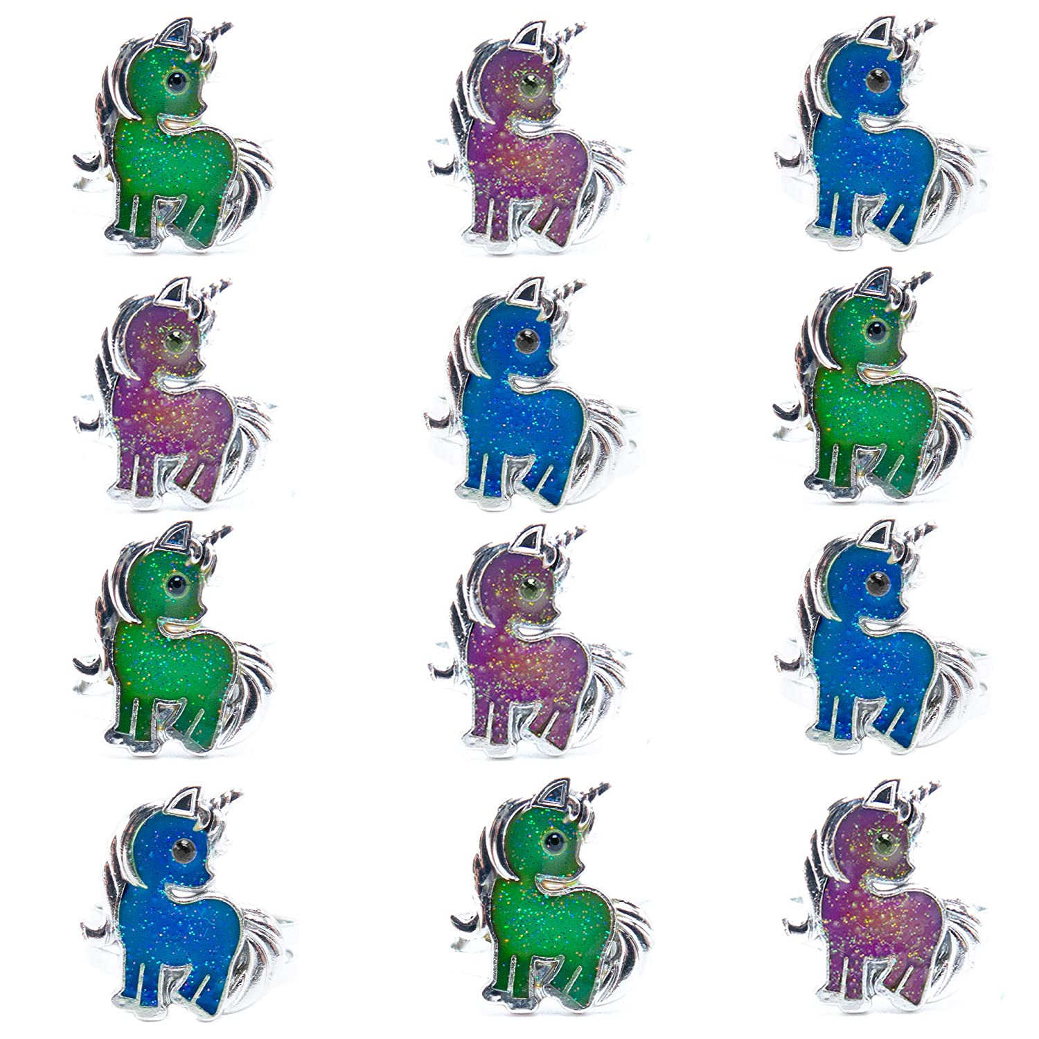 10498545 FROG SAC Unicorn Mood Rings for Little Girls and Women 12 PCs - Unicorn  Birthday Party Supplies and Favors for Kids - Color Changing Mood Ring Set  - ...