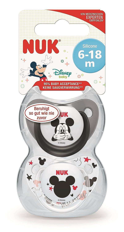 NUK Pack 2 Tetines Disney Mickey Silicone Sucette Biberon 6-18mois,mod/èles assortis