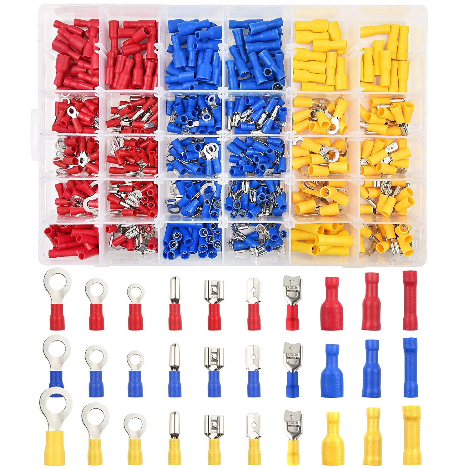 TUPARKA 500Pcs Electrical Wire Connectors Assorted Electrical Quick Connect Crimp Terminals Kit Electrical Terminals Spade Bullet Butt Connectors