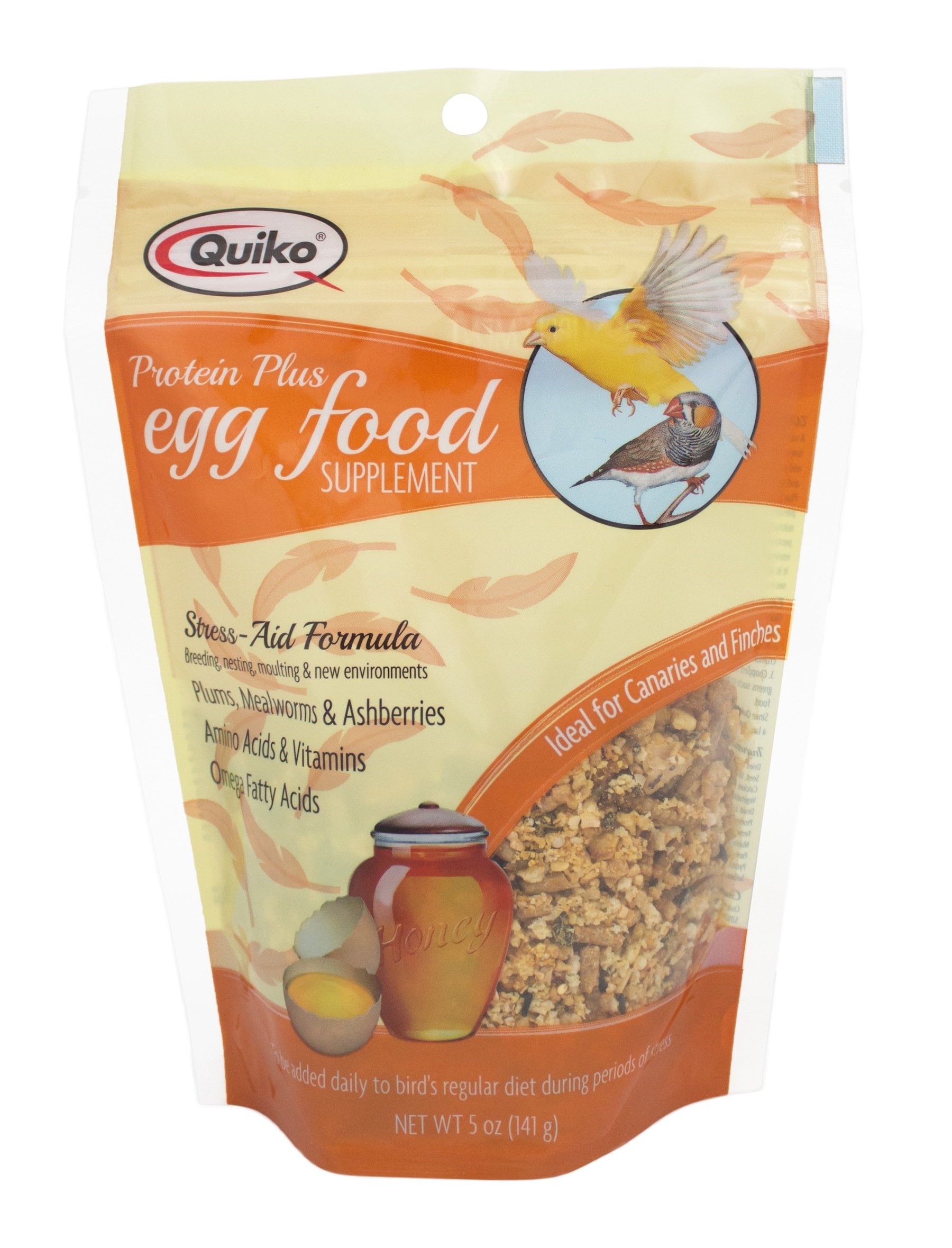 Quiko Protein Plus Egg Food Supplement - Stress Aid Formula for Canaries & Finches, 5 Ounce Pouch