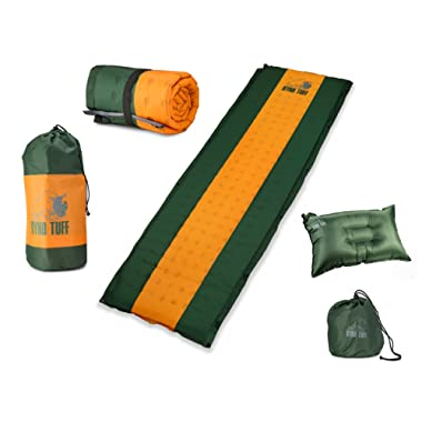 Ryno Tuff Sleeping Pad Set, Self-Inflating Camping Mattress with Bonus Travel Pillow Included, The Mat is Large, Wide and Insulated Yet Compact When Folded, A Must for Camping, Hiking or Backpacking