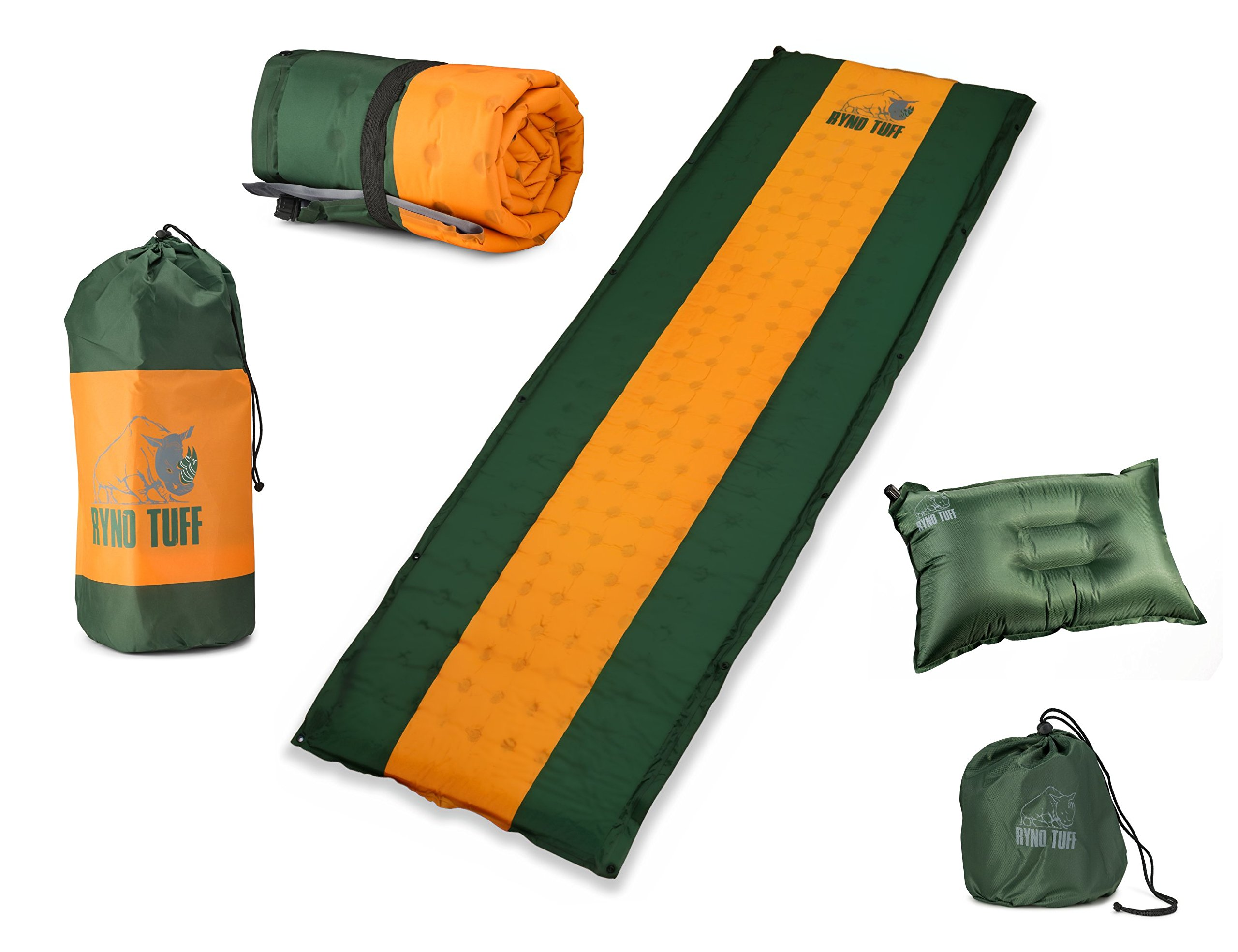 Ryno Tuff Sleeping Pad Set, Self-Inflating Camping Mattress and Bonus Traveling Pillow Included, The Mat Is Large, Wide and Insulated Yet Compact When Folded, A Must For Camping, Hiking or Backpacking