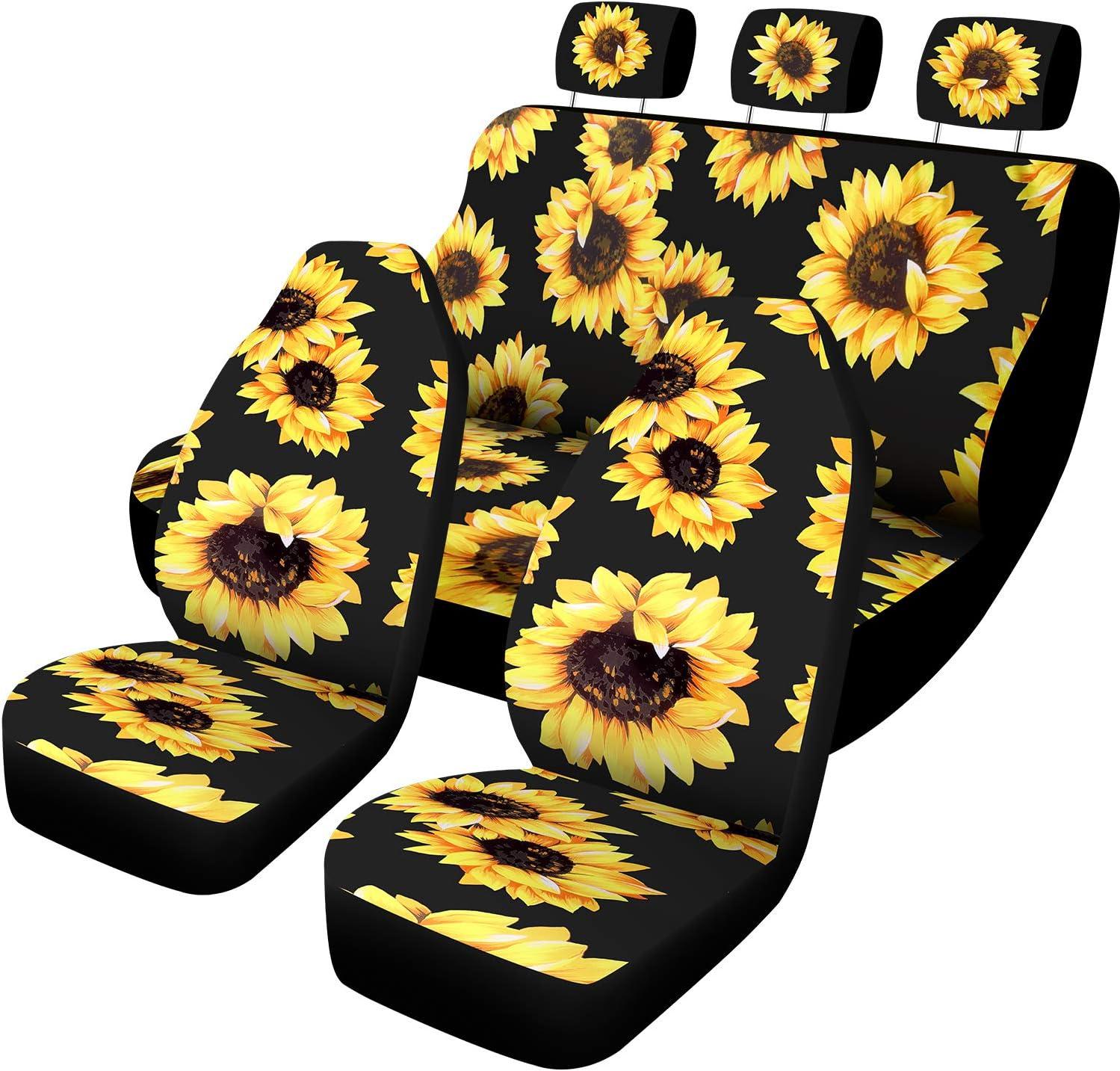 BBTO 7 Pieces Sunflower Car Accessories Set Sunflower Car Seat Covers for Auto Car Decoration