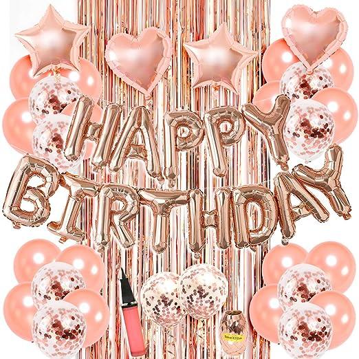 Kreatwow Decoraciones de cumpleaños en Oro Rosa para niñas con Globos de Confeti, Pancarta de Feliz CUMPLEAÑOS, Cortinas de Flecos, Conjunto de ...