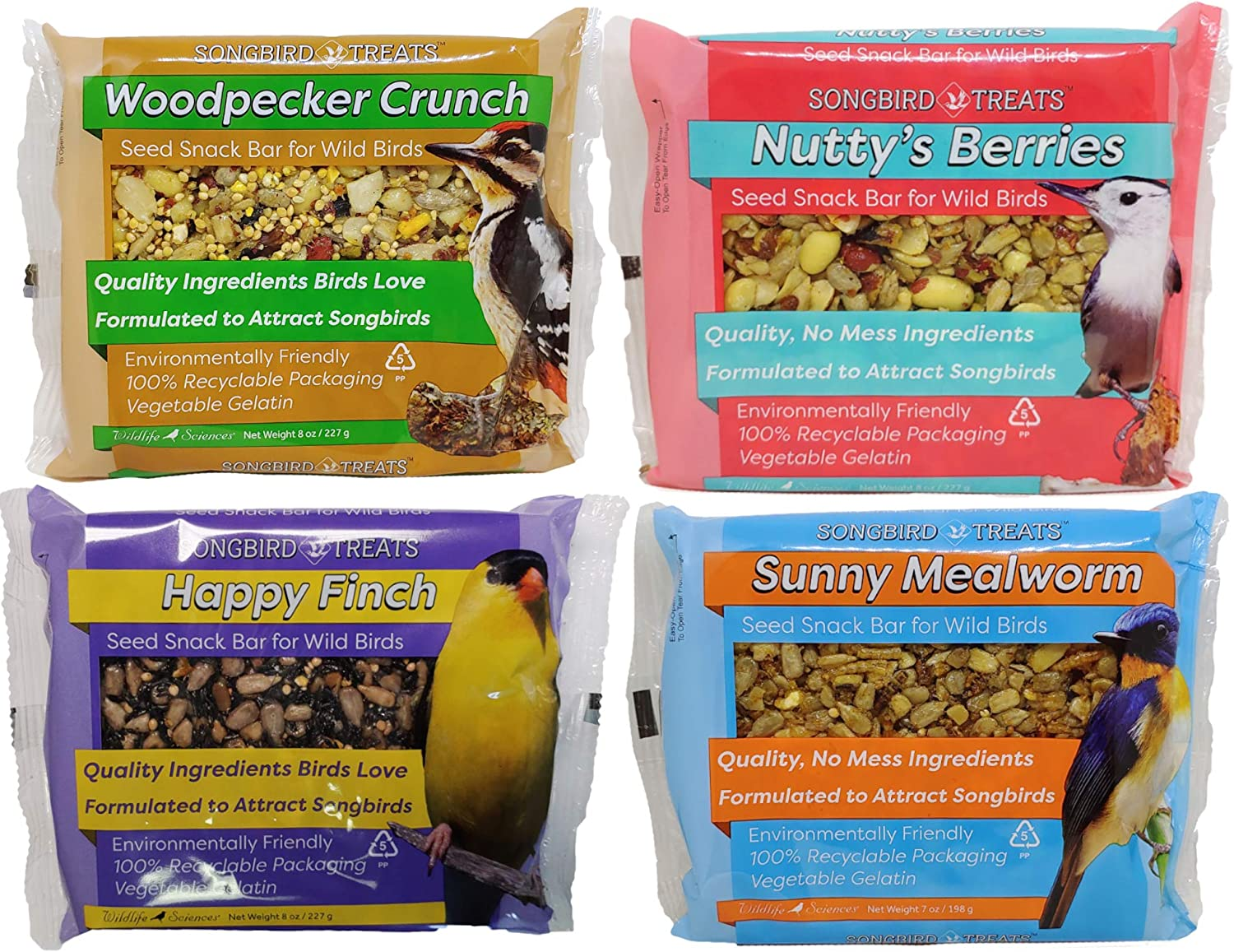 Songbird Treats Seed Cake Variety 4 Pack of Seed Cakes | 8 oz Bird Seed Cakes for Wild Birds