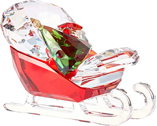 Swarovski Santa s Sleigh Christmas Holiday Figurine, Red Green Clear Crystal – 5403203