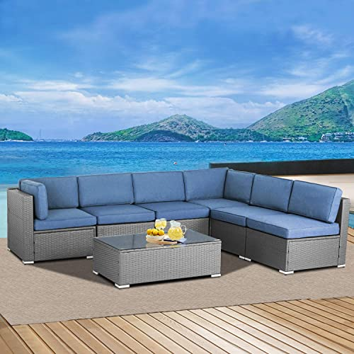 SOLAURA 7 Pieces Patio Furniture Sets Outdoor Sectional Sofa All Weather Gray PE Rattan Patio Conversation Set with Cushions and Tempered Glass Table,Denim Blue