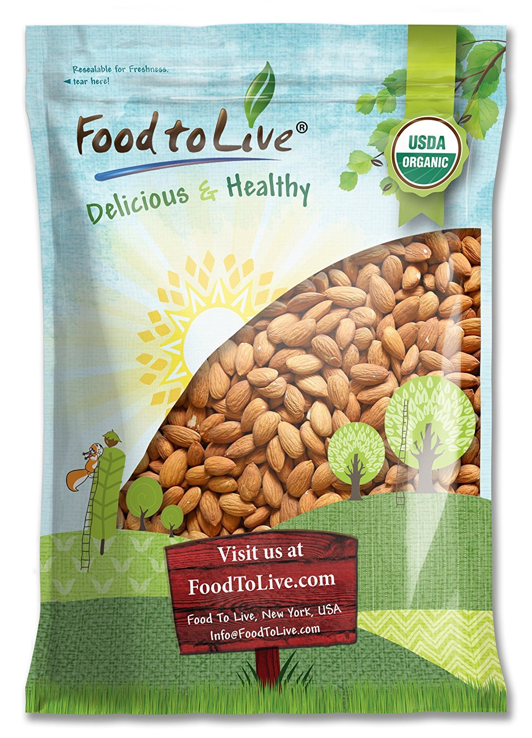 Raw Organic Almonds Bulk by Food to Live (Non-GMO, No Shell, Whole, Unpasteurized, Unsalted, Kosher) — 12 Pounds