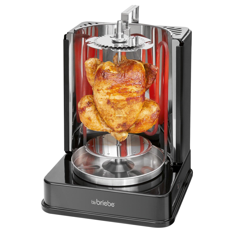 Briebe Girarrosto verticale girevole elettrica di pollo, Doner Kebab, spiedini, Vassoio recoje grasso, Acciaio Inox, Grill 1400 W Grill 1400W