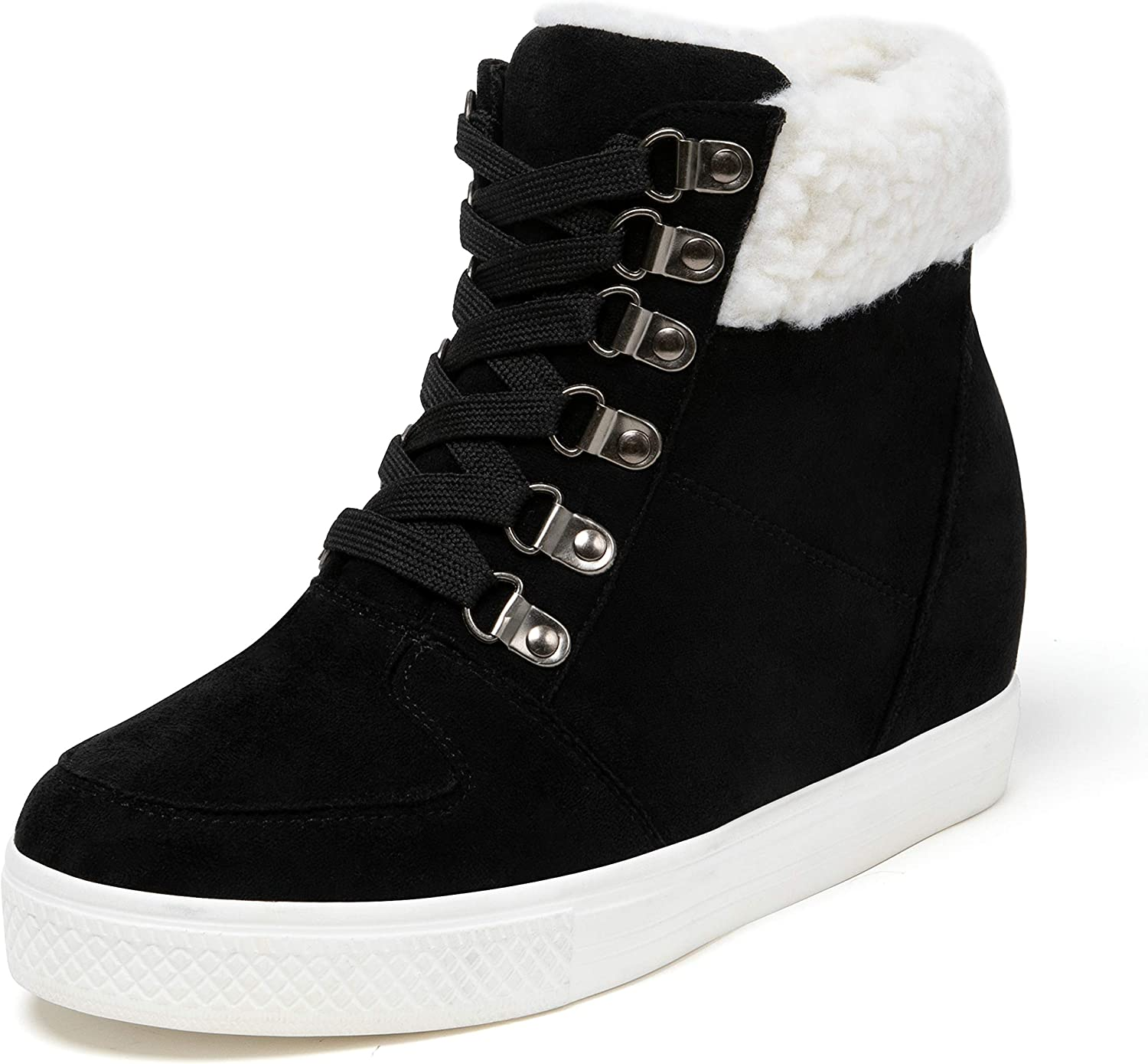 Fur High Top Hidden Wedge Shoes Lace Up