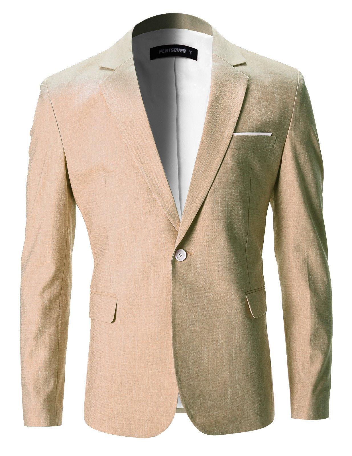 FLATSEVEN Mens Slim Fit Cotton Stylish Casual Blazer Jacket (BJ202) Beige, S