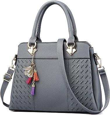 Amazon.com: Womens Purses and Handbags Ladies Designer Satchel Tote Bag  Shoulder Bags, Gray: Shoes