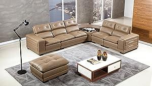 American Eagle Furniture Louisiana Modern Italian Leather Living Room Sectional Set, 6 Piece, Taupe