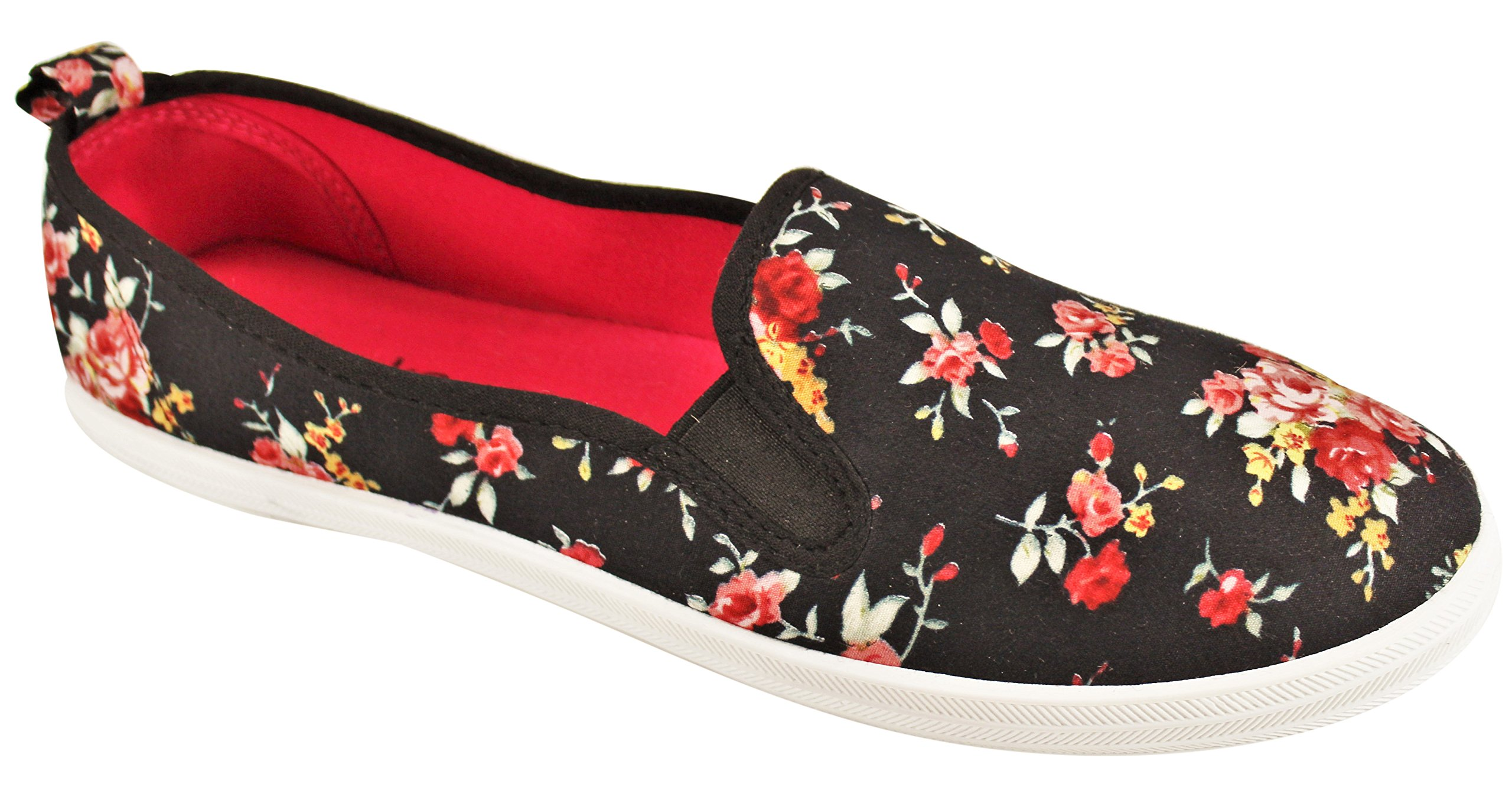 Take A Walk Womens Fashion Canvas Slip-On Shoe (8, Black/Floral)