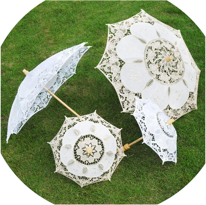 Wedding Bride Lace Umbrella White Wooden Handle The Creative Process Umbrella Umbrella Shooting Props Wedding Wedding Decoration,Ivory