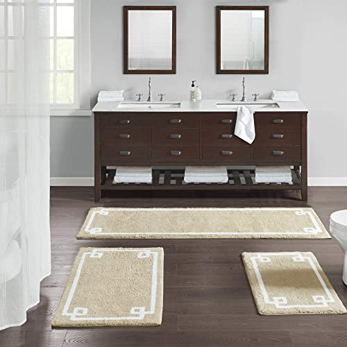 Evan Cotton Tufted Washable Bath Mat , Luxury Solid Bathroom Rugs , 24X72 inches , Taupe