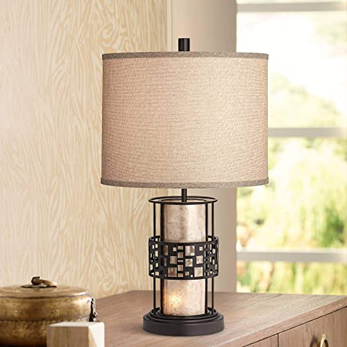 Cooper Modern Rustic Farmhouse Table Lamp with Nightlight LED Metal and Mica Mineral Fabric Drum Shade for Living Room Bedroom Bedside Nightstand Office – Franklin Iron Works