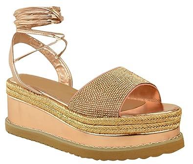 96904e9e0ec Definitely You Ladies Womens Flat Wedge Heel Platform Espadrille ...