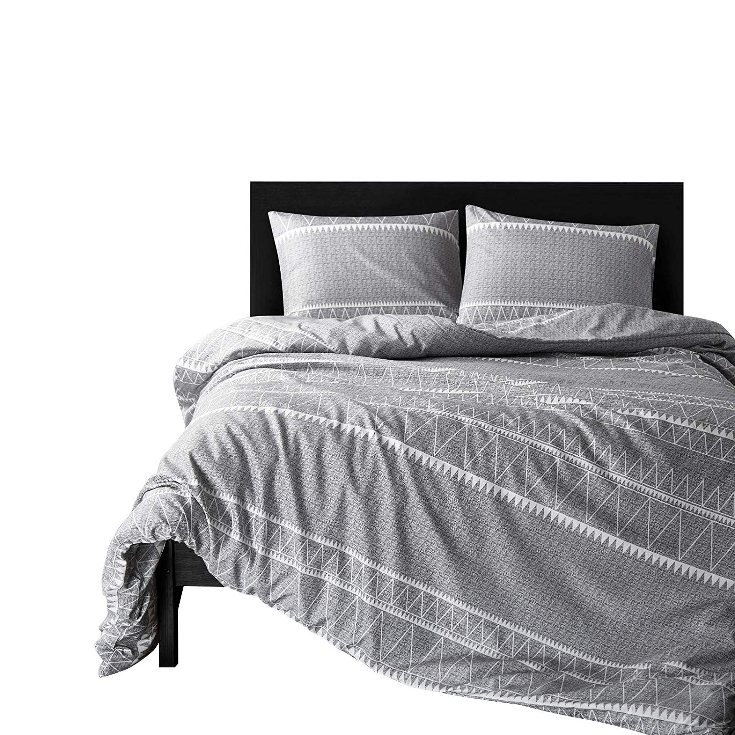 HYPREST Bohemian Kids Grey Duvet Cover Set Twin Soft Grey Triangle 3PC Comforter Cover Set(Twin) by HYPREST