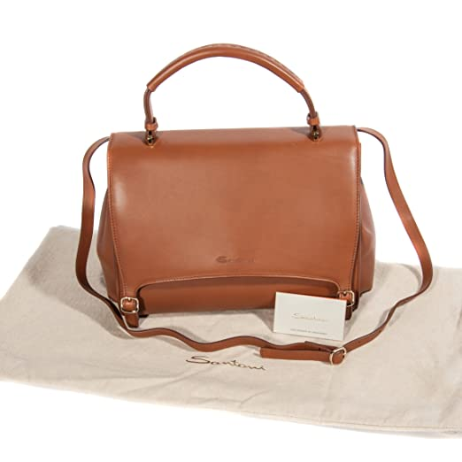 555415457bf Santoni Women s Camel Brown Leather Satchel Bag With Detachable Shoulder  Strap