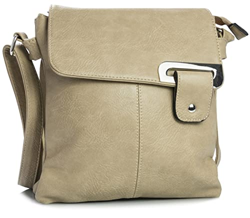3b865f96f2 WOMENS MEDIUM MULTI COMPARTMENT CROSS BODY SHOULDER MESSENGER BAG (Beige)