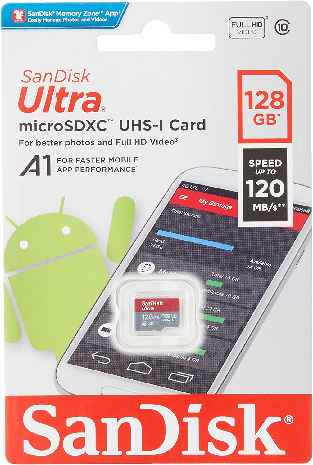by SanFlash SanDisk Ultra 128GB MicroSDXC Verified for Spice Mobile Stellar Virtuoso Pro 100MBs A1 U1 Works with SanDisk