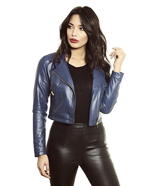 giacca corta pelle blu