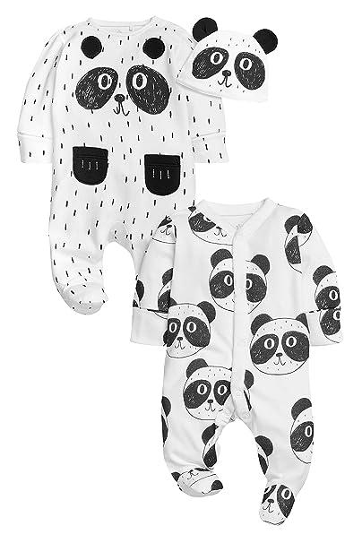 next Unisexo Pack De Dos Pijamas Tipo Pelele Estampado Oso Panda con Gorro (0-