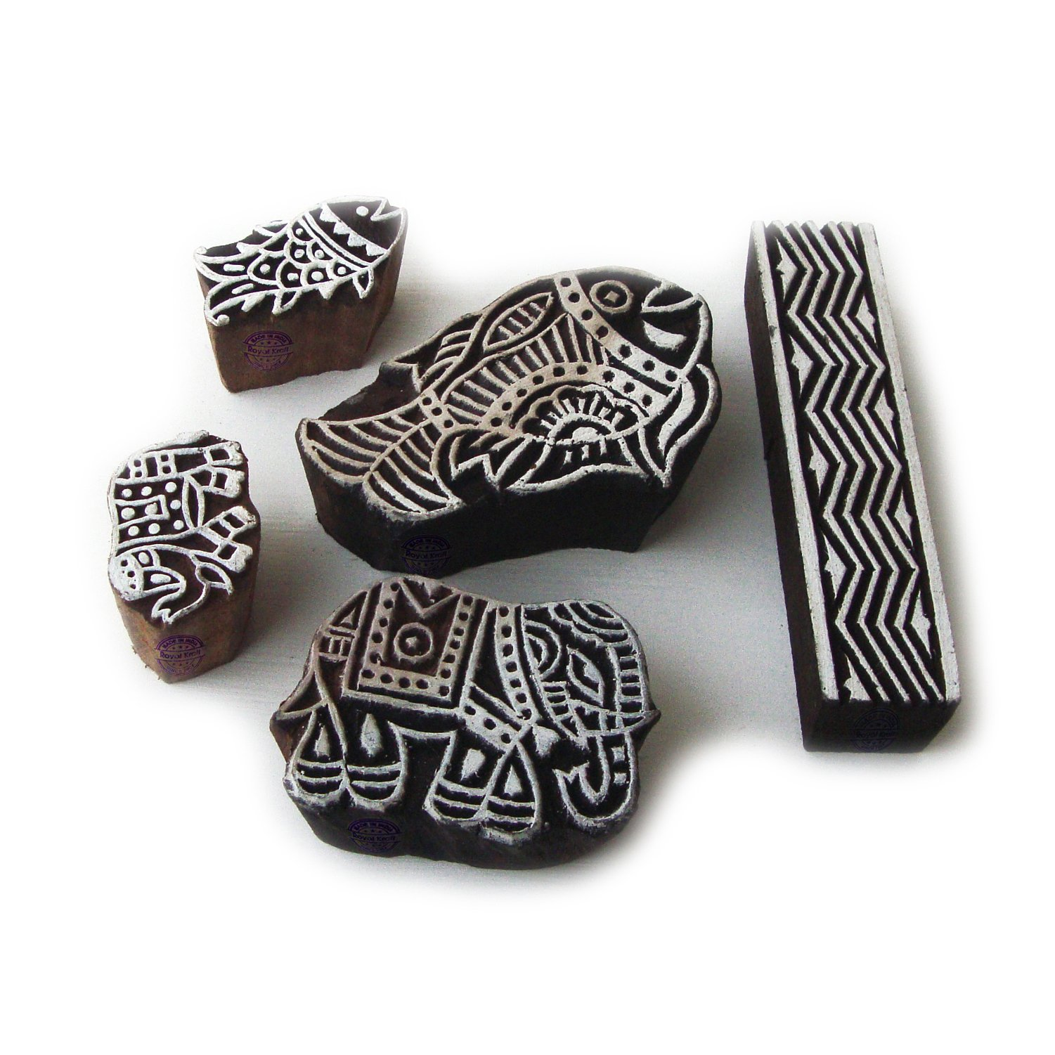 Asian Elephant and Fish Motif Wood Print Stamps (Set of 5)