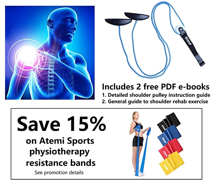 Atemi Sports Physiotherapy Shoulder Pulley for Exercise and Injury  Prevention and Rehabilitation | Durable Exercise Pulley with Door Anchor  and