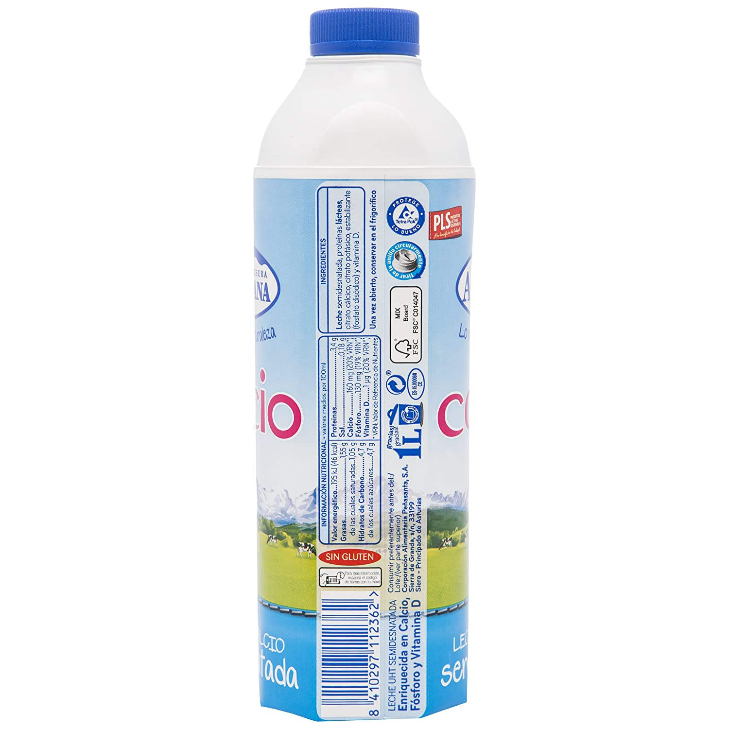 Central Lechera Asturiana Leche Calcio Semidesnatada - Paquete de 6 x 1000 ml - Total: 6000 ml: Amazon.es: Amazon Pantry
