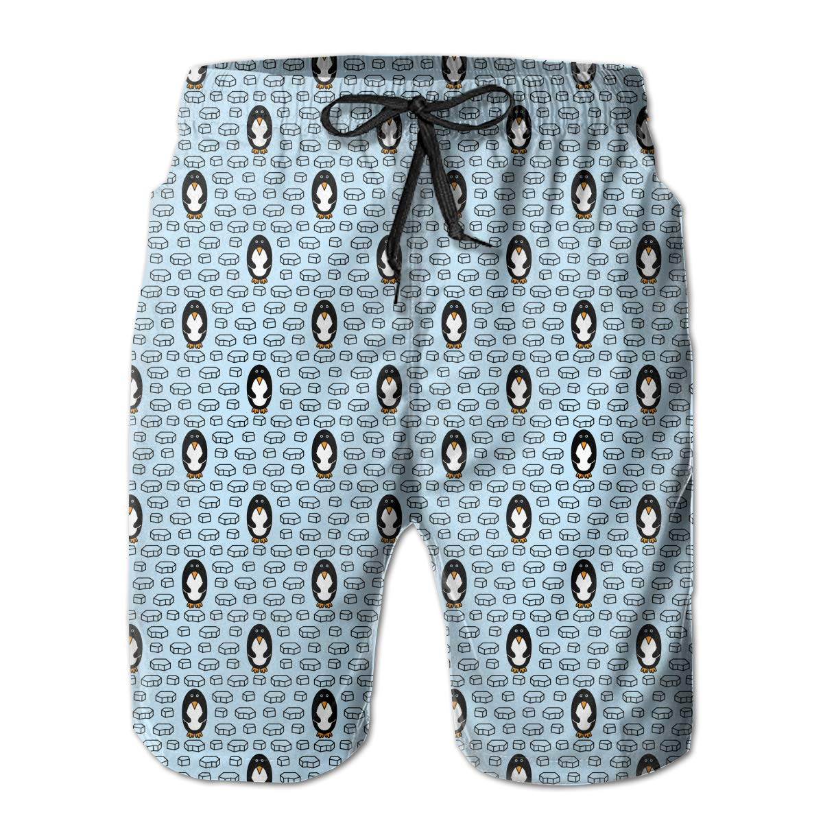 Mens Penguins Seamless Casual Quick Dry Swim Trunks Elastic Drawstring Surfing Shorts with Pocket