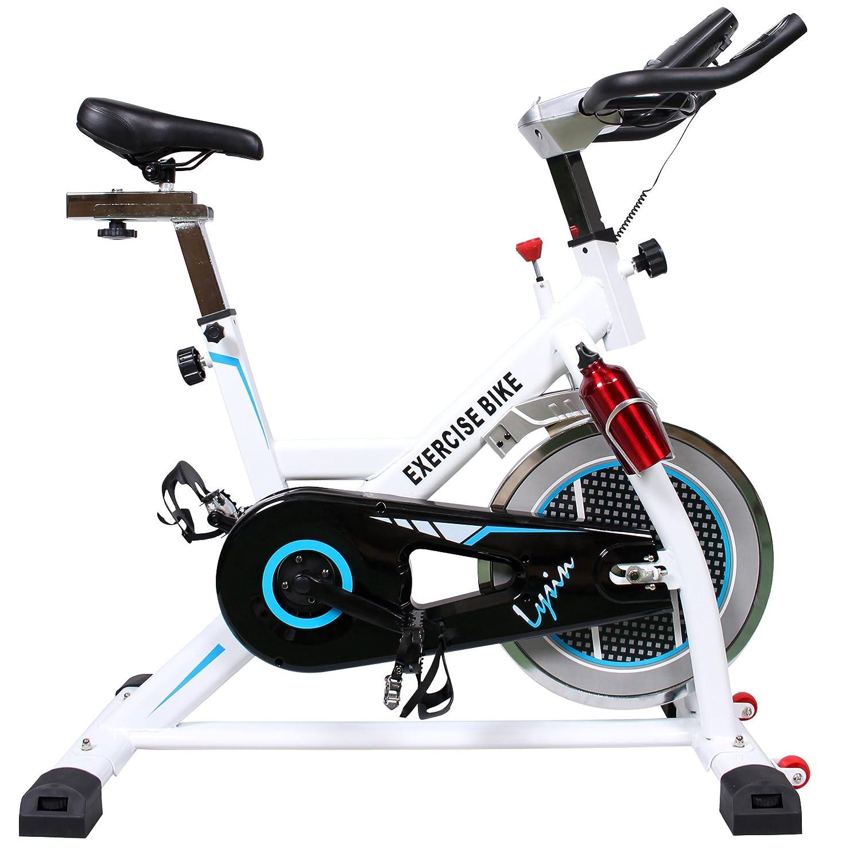 スピンバイク フィットネスバイク 肉厚サドル 静音 8kgホイール 小型 人間工学設計 ルームバイク LS-9011N  ホワイト B076895WM7